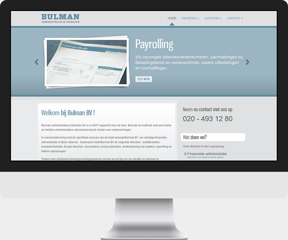 Joomla website Bulman Financiele Dienstverlening